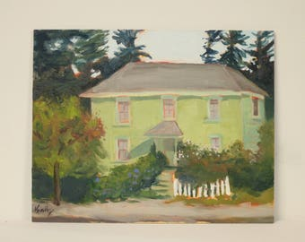 Painting Old House Original Landscape Art Northern California White Fence Trees Green Orange Small Wall Decor Vintage Home Cottage