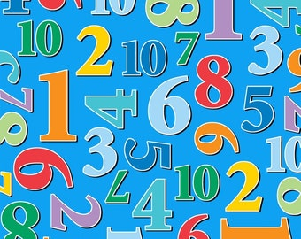 Numbers Blue Count with Me Studio E Fabric 1 yard