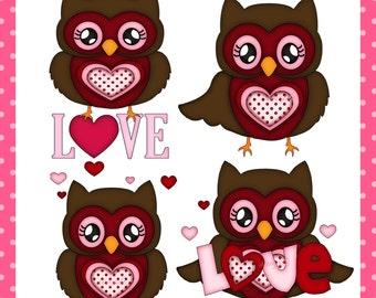 Valentine Owls - Digital Images for Scrapbooking and Paper Crafts