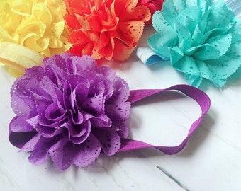 Purple Eyelet Ruffle Flower Headband