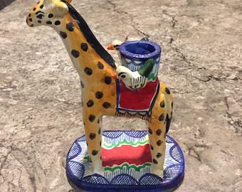 Old Mexican Folk Art Tree of Life GIRAFFE & Bird Candle Holder Pottery