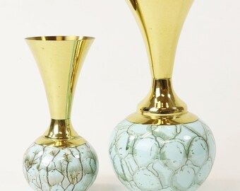 Pair of Vtg Delft Holland Hand Painted Porcelain & Brass Vases