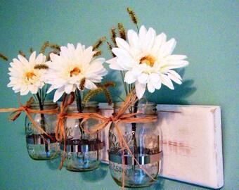 Mason Jar Wall Decor, Wall Sconce, Mason Jar Organizer, Shabby Chic Farmhouse Mason,  Jar Decor, Wedding Flower Vase, Bathroom Decor