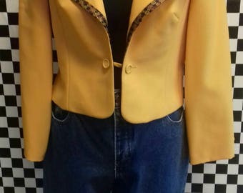 Bright orange/yellow cropped jacket with imperfections - medium