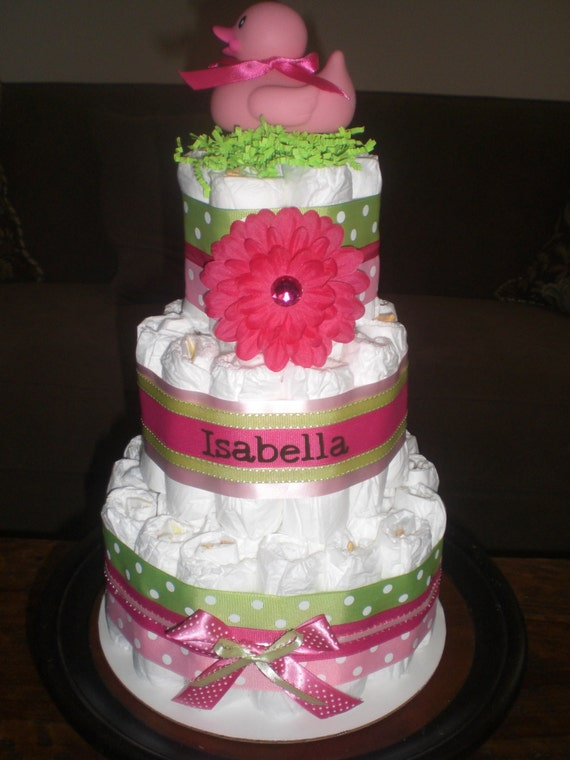 Pink And Green Girl Diaper Cake Baby Shower Centerpieces Gift