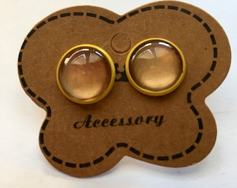 Yellow and Gold ear studs earrings