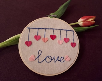 Round Embroidery Hoop- Valentine's  day gift - Hoop Art - Wall Art - Home Decor - Wall Hanging