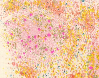 Nani Iro Birds Eye Fabric in Pink + Yellow