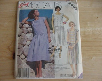 Vintage 1980s McCall's Pattern 2460, Misses' Pullover Dress, Dropped Waistline, Variations, Size 12-16, Uncut