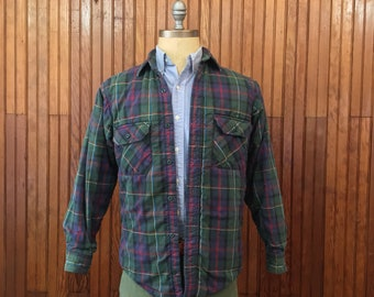 LL Bean Small Quilted Flannel Work Shirt Thinsulate Thermal Insulated Men's Cotton Plaid Made In USA Vintage