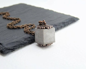 Necklace Concrete Cubes-oriental-antique copper-gift-