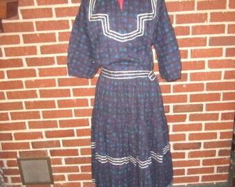 Vintage 1950s Thunderbird Fashions Prescott Arizona Navy Blue Turquoise and Silver 2 pc Fiesta Dress