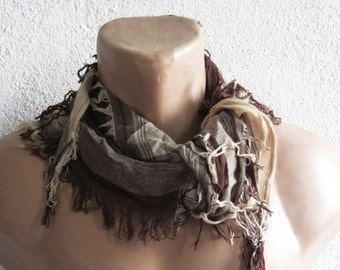 Men Scarf Shabby Chic, Men scarf Brown. Men, Man, Guys, Personalized Men Scarf, Fabric Fringeed Scarf, Tassel scarf, SCARVES, ACCESSORİES
