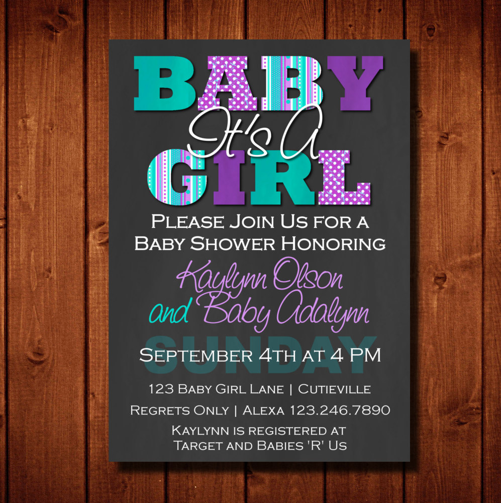 Baby shower invitation its a girl purple and teal digital zoom stopboris Image collections