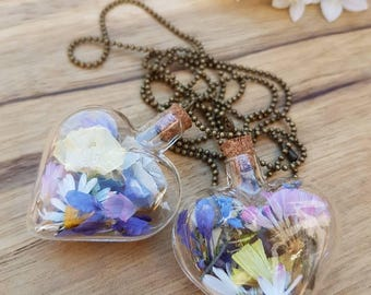 Heart necklace, glass bottle with real flowers
