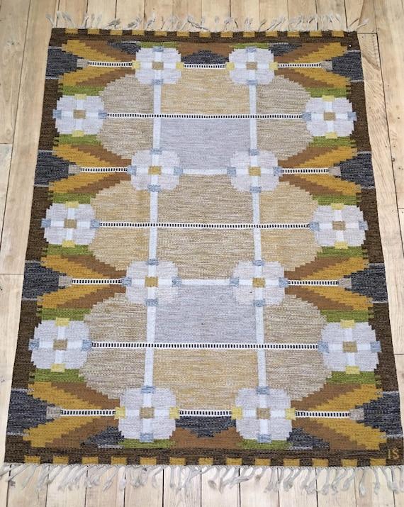 Vintage Swedish rollakan flatweave wool rug by Ingegerd Silow circa 1970's