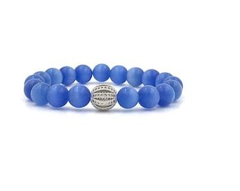 Free Shipping,Blue Cats Eye Bracelet,blue gemstone bracelet,ladies blue bracelet,blue bracelet,cats eye jewelry,blue stretch bracelet,gems
