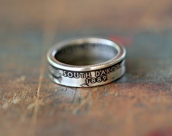 Handmade Silver South Dakota State Coin Ring, Custom Sizing 4-13