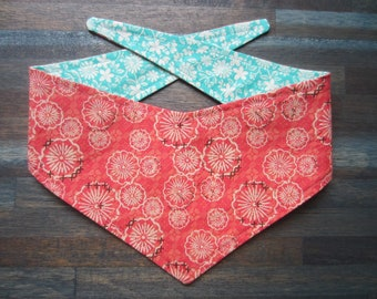 XS reversible tie on dog banadana - pink and white flowers/turquoise flowers Kanine Kerchief