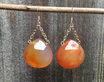Agate - Gemstone and Gold Chain Earrings