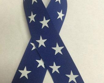 "7/8"" PRINTED STARS on GROSGRAIN Ribbon - Dk Royal Blue Ribbon with White Stars \ - 4th of July / American Theme Ribbon"