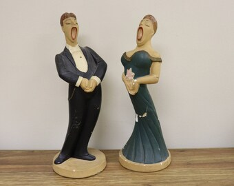 """Pair of Vintage 1945 Chalkware Opera Singer Statues - SRNM - 12"""" tall - Man and Woman"""