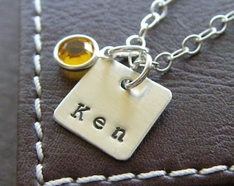 "Personalized Square Charm Necklace – Hand Stamped Sterling Silver – 1/2"" Square Pendant with Optional Birthstone or Pearl"