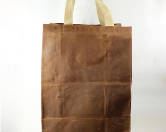 Waxed Canvas Shopping Bag - Zero Waste - Grocery Bag - Gift for Him - Gift for Her - Large Tote Bag - Canvas Tote Bag - Market Bag - Waxed