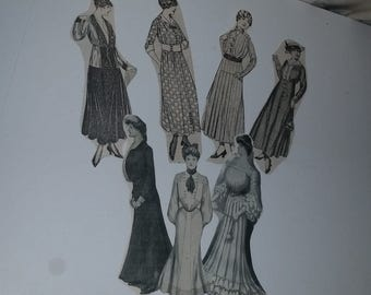 R 7 antique fashion clippings Victorian women 1915 to 1922 magazines Vintage ephemera pictures illustration scrap paper art supplies lot