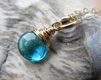 Bright blue faceted quartz small briolette solitaire necklace - gold filled handmade jewelry