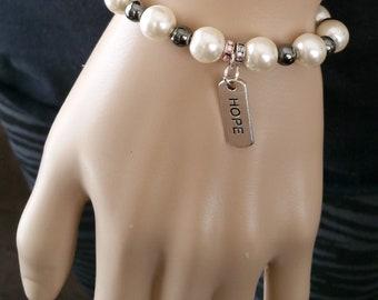 Pink pearl glass black hematite beaded bracelet for women, Charm Hope beaded bracelet, Rhinestone gemstone beaded bracelet, Gift for her