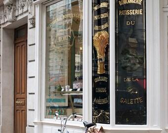 Bike Photography, Parisian Boulangerie, Montmartre, Bike Parking, Sundays in Paris, Gallery Wall Art, Francophile, Paris Print