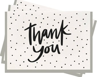 Letterpress 'Thank You Dots' - Folded Note Cards - Pack of 6