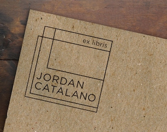 Ex Libris Rubber Stamp • Custom Bookplate Stamp • Personalized Book Stamp • Minimal Geometric Name Label • Library Stamp • Bookworm Gift