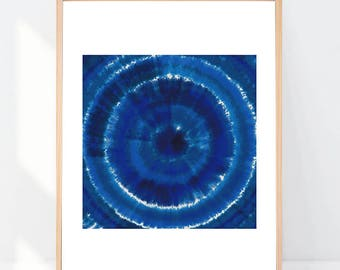 Tie Dye Print Indigo Blue Shibori 8x10 or 11x14 with Matting Options