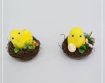Little Chick on Nest/Chick Nest Decoration/Easter Chick in Nest