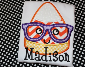 Halloween Candy Corn with glasses Personalized tshirt or baby bodysuit