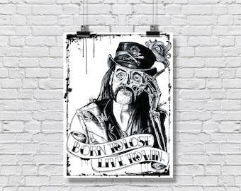 """Art Print  Poster 18 x 24"""" - Lemmy Kilmister -  Motorhead music rock and roll drugs tattoo skeleton skull"""