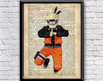 Naruto Poster, Typography Dictionary Text Art Word Art Print