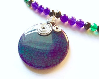 Purple Fire Agate Agate Pendant Necklace with Amethysts in Sterling Silver / Gemstone / Boho / February Gift Idea