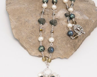 Freshwater Pearls and Swarovski Crystal Sterling Silver Necklace Necklace