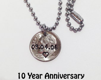 10th Anniversary Gift, 10th Anniversary Gift for Him, 10 Year Anniversary for her, Ten Year Anniversary Gift for Him, 10th Wedding 2008 Dime