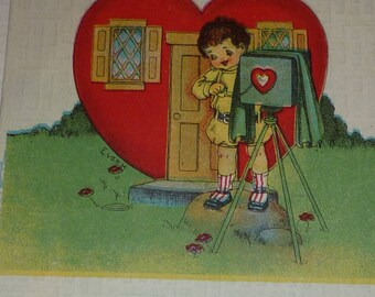 Boy With Camera Says His Heart Is Ready to Take 1910s Antique Valentine Postcard
