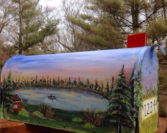 hand painted mailbox designs. hand painted mailbox cabin on a lake scene designs