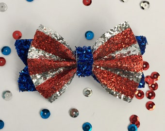 Little Patriot bow, red white & blue glitter hair bow, sparkly patriotic bow, Memorial Day bow, 4th of July hair bow, American flag bow clip