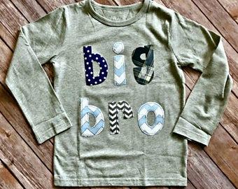 Big/Little Brother Shirt, Custom Size/Color/Sleeve Length, Bro Shirt, Announcement Shirt, little bro sibling new baby navy chevron stripe