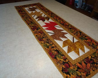 Quilted Table Runner Autumn Leaves Quilted  Table Runner