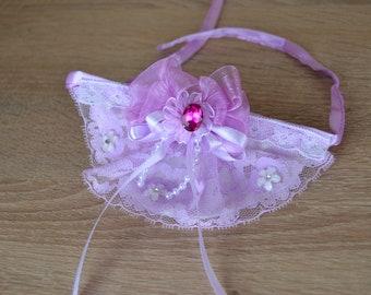 Bib Collar with lilac ribbon