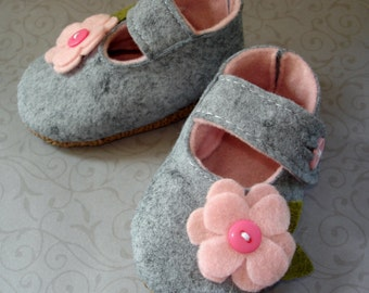 Grey and Candy Pink-Wool Felt-Baby maryjanes-