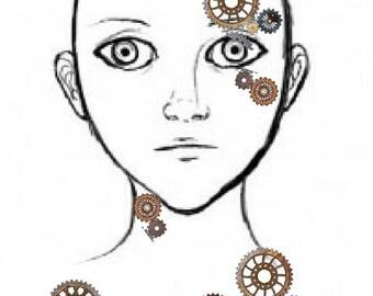 Steampunk cogs temporary tattoos